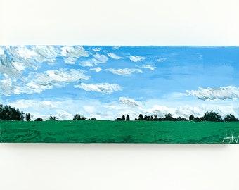 PEACEFUL LANDSCAPE Painting - Original Artwork, Impasto Landscape Artwork, Palette Knife Painting, British Countryside Art, Cloud Painting