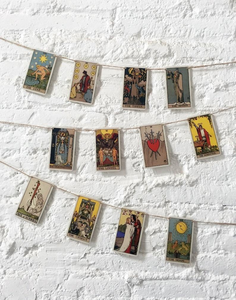 Tarot bunting, tarot garland, tarot card art, tarot deck, spiritual art,  mystical bunting, cosmic art