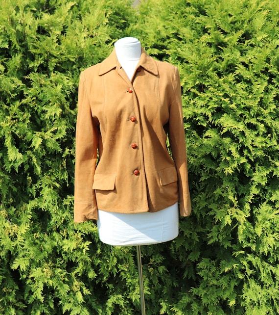 Vintage Tan Microfiber Suede Jacket / Fall Jacket