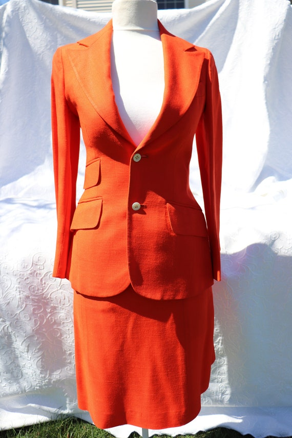 1960's T. Jones Orange Suit with Skirt / Vintage O