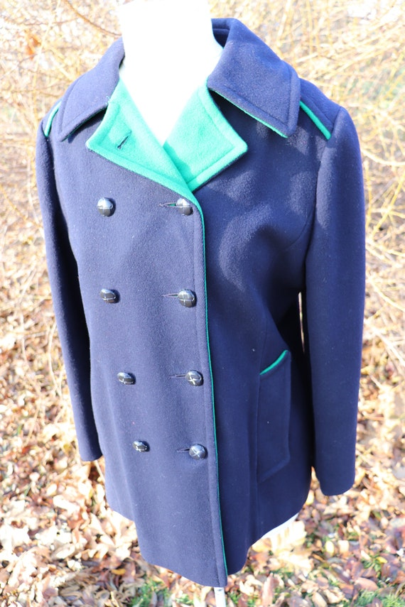 Women's Vintage Navy and Kelly Green Peacoat / Mac