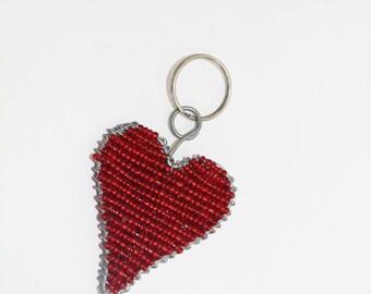 Beaded Heart Keyring