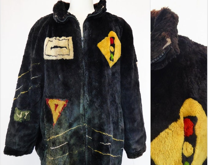 Featured listing image: Beaver Fur Coat, Dyed Road Sign Pattern, Zippered Front, Unique Fur Coat, Route 66/95, Made in Canada