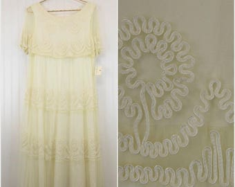 80s Lace Sheer Dress, Marie St. Claire Designer Saks Fifth Avenue, Women's Size 6, Cream/Off-White