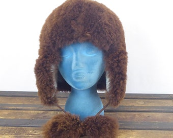 40cbdab1 Vintage Carolina Amato Brown Eskimo 100% Alpaca Fur Hat With Fur Pom Poms  One Size