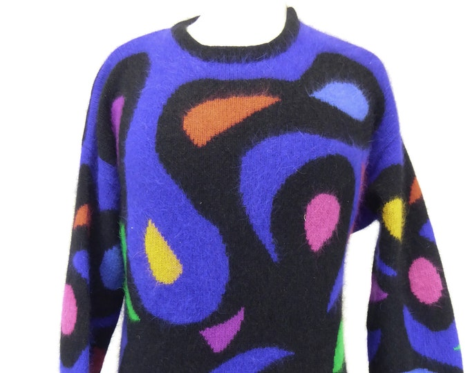 Featured listing image: 80s Angora Sweater, Women's Size Medium, Multicolor Swirl Pattern, Wool Rabbit Fur, Black Purple Sweater, Rafaella, Vintage 80s Sweater