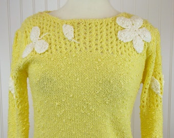 80s Flower Sweater, Women's Size Small, Yellow Knit White Flower and Sheer Detail, Chunky LeRoy Knitwear, Acrylic