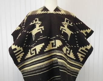 Vintage Hippie Boho Woven Textile Poncho