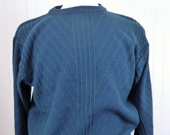 Christian Dior 90s Sweater, Men's Size XL, Vintage Green/Blue Knit Geometric Crewneck, Monsieur Le Connaisseur