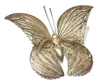 Silver Butterfly Brooch, Antique 900 Silver Filigree Pin, Bug Insect Figural Jewelry, Fine Sterling Silver Brooch, Moth 800 Silver Ornate