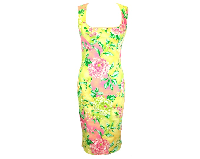 Featured listing image: Dolce and Gabbana Dress, Tropical Floral Dress, Bodycon D&G Camellia Flower Dress, Japanese Art High End Designer Dress, Midi 90s Size 2