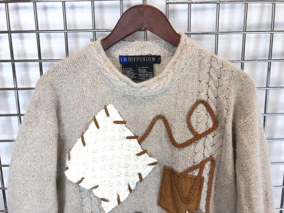 IB Diffusion Seda Patchwork Light Beige Angora Sweater  e2b85c5b8