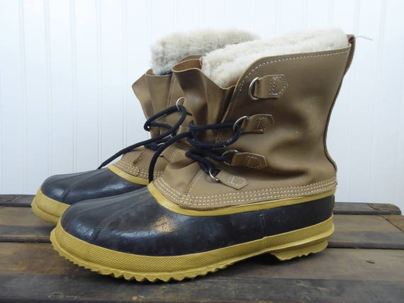 Sorel Kaufman Leather Rubber Winter Vintage Boots Men's Size 12 Made in Canada