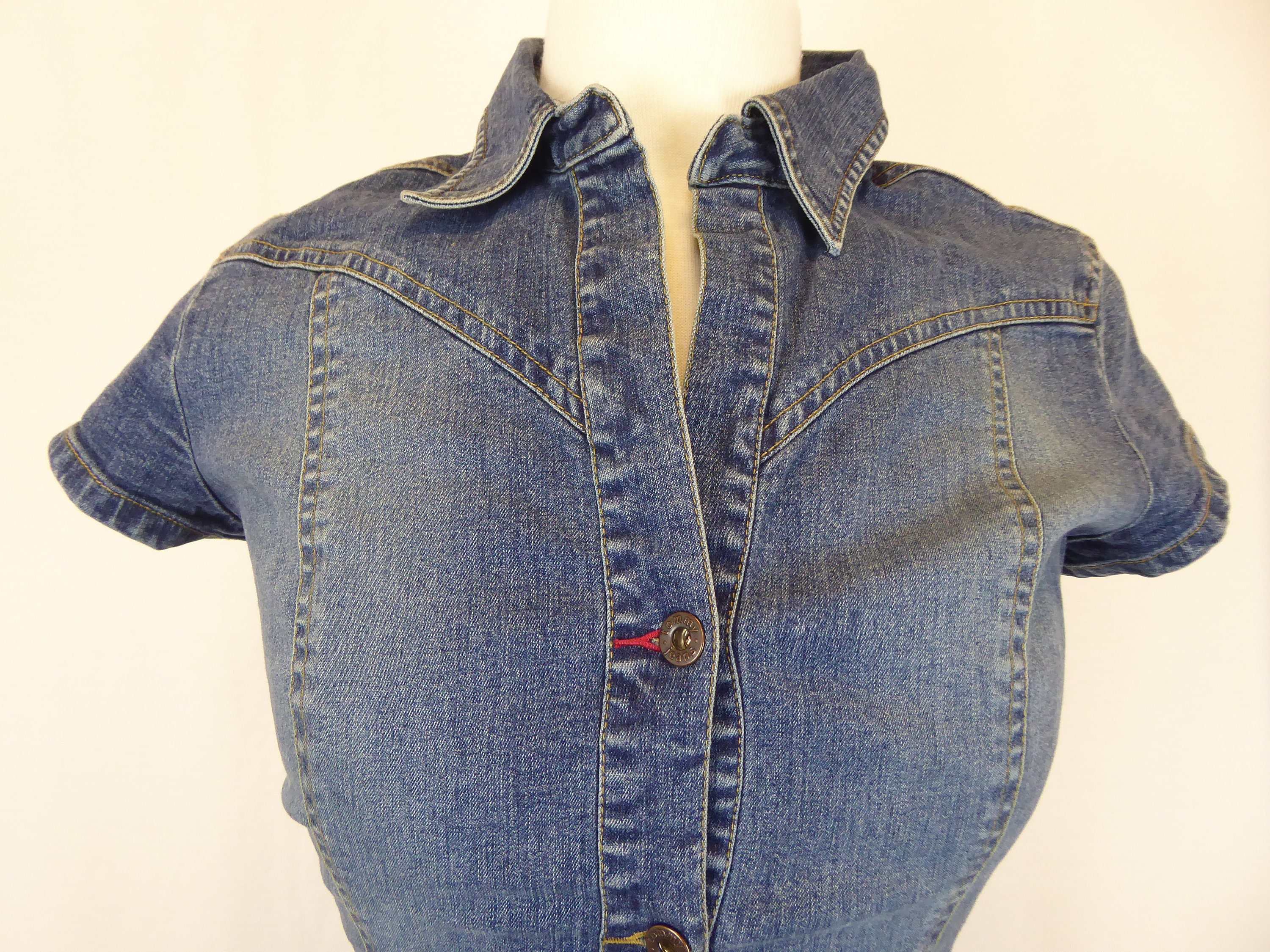 96e4560df Tommy Hilfiger Denim Dress, Women's Small, Tommy Jeans 90s Style Short  Sleeve Button Up Stretch Bodycon Dress