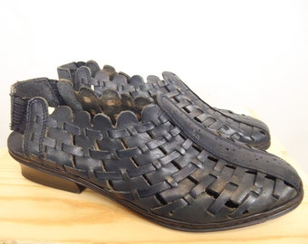 Woven Leather Shoes, Women's Size 8.5, Gray/Blue Leather, Vintage Slingback Shoe, Mesh Leather Flats, Made in Romania