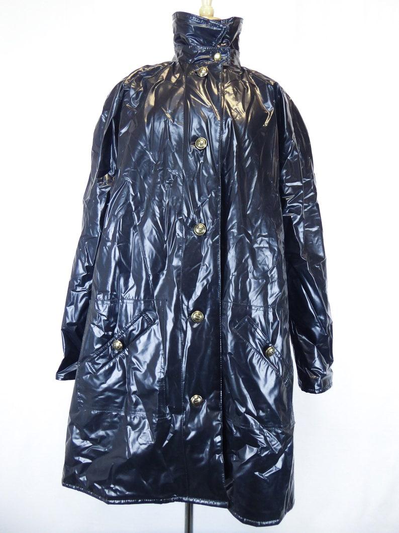 e6c1c62c9fa0 80s Pleather Jacket Black Rain Jacket Gloss Black Womens