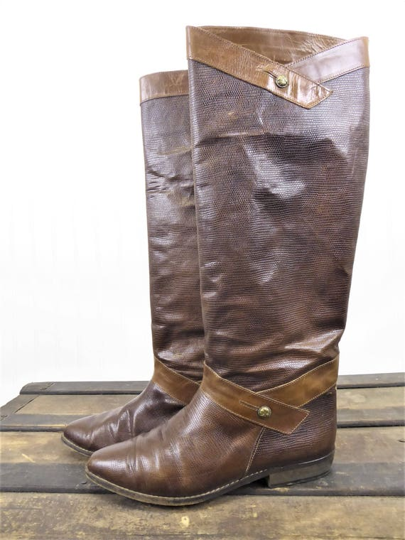 013ad81f71b2d Sesto Meucci Riding Boots, Vintage 70s/80s Brown Embossed Reptile/Lizard  Leather Tall Boots, Women's Size 7, Made in Italy