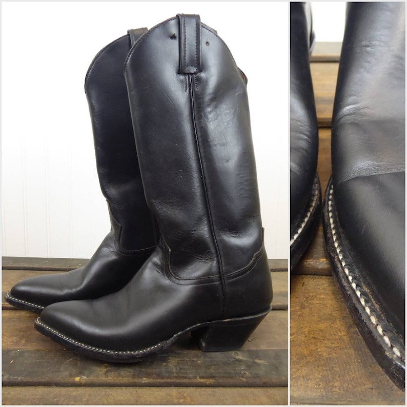 387d45bc8ef Tony Lama Cowboy Boots, Women's 6 B, Vintage Black Leather Western Boot