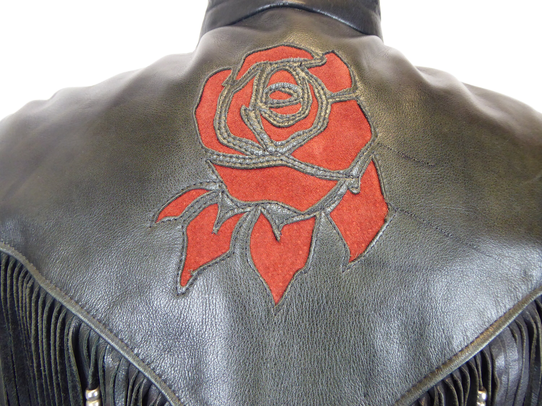 0d116686d 80s Leather Fringe Motorcycle Jacket, Women's Size 16, Rose Detail ...