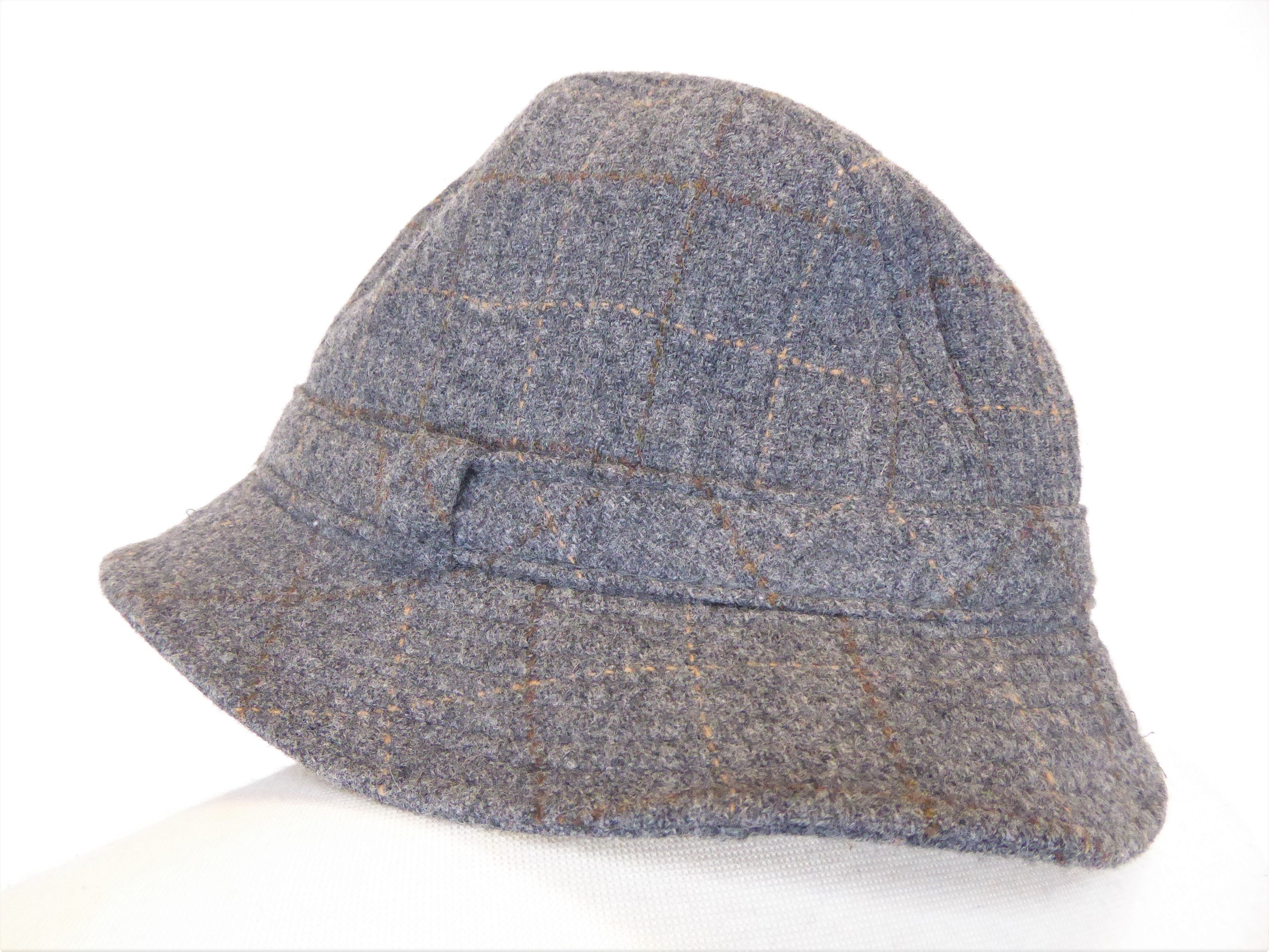 c1400ea542cc1d Pendleton Wool Bucket Hat, Vintage Gray Wool Fedora Style Hat, Size XL,  Made in USA