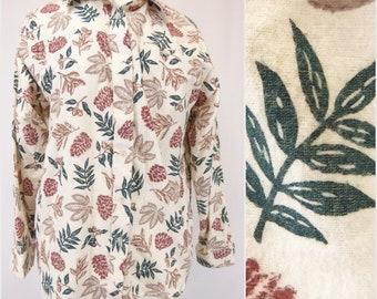 Leaf Pattern Shirt, Flannel Button Shirt, Women's Size Medium, 80s Flannel Shirt, Pine Cone Print, Long Sleeve Blouse, Haband