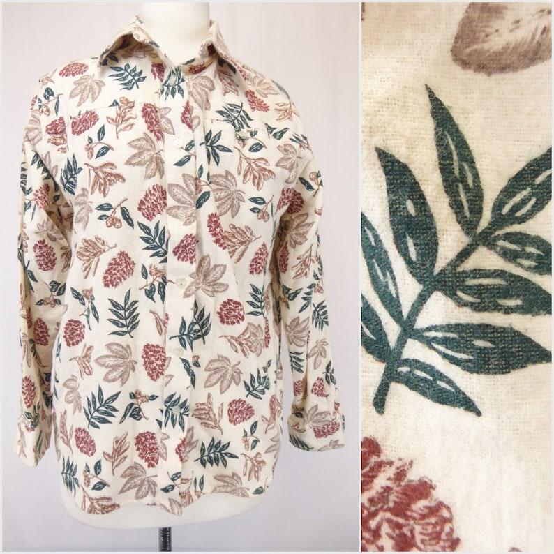 Long Sleeve Blouse Leaf Pattern Shirt Haband Flannel Button Shirt 80s Flannel Shirt Women/'s Size Medium Pine Cone Print