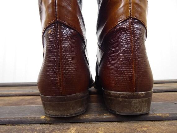 Reiten Braun Geprägte Groß Sesto Jahre Meucci Größe LederstiefelDamen In 7Hergestellt Reptileidechse Italien StiefelVintage 70er80er pVMqGSjLUz