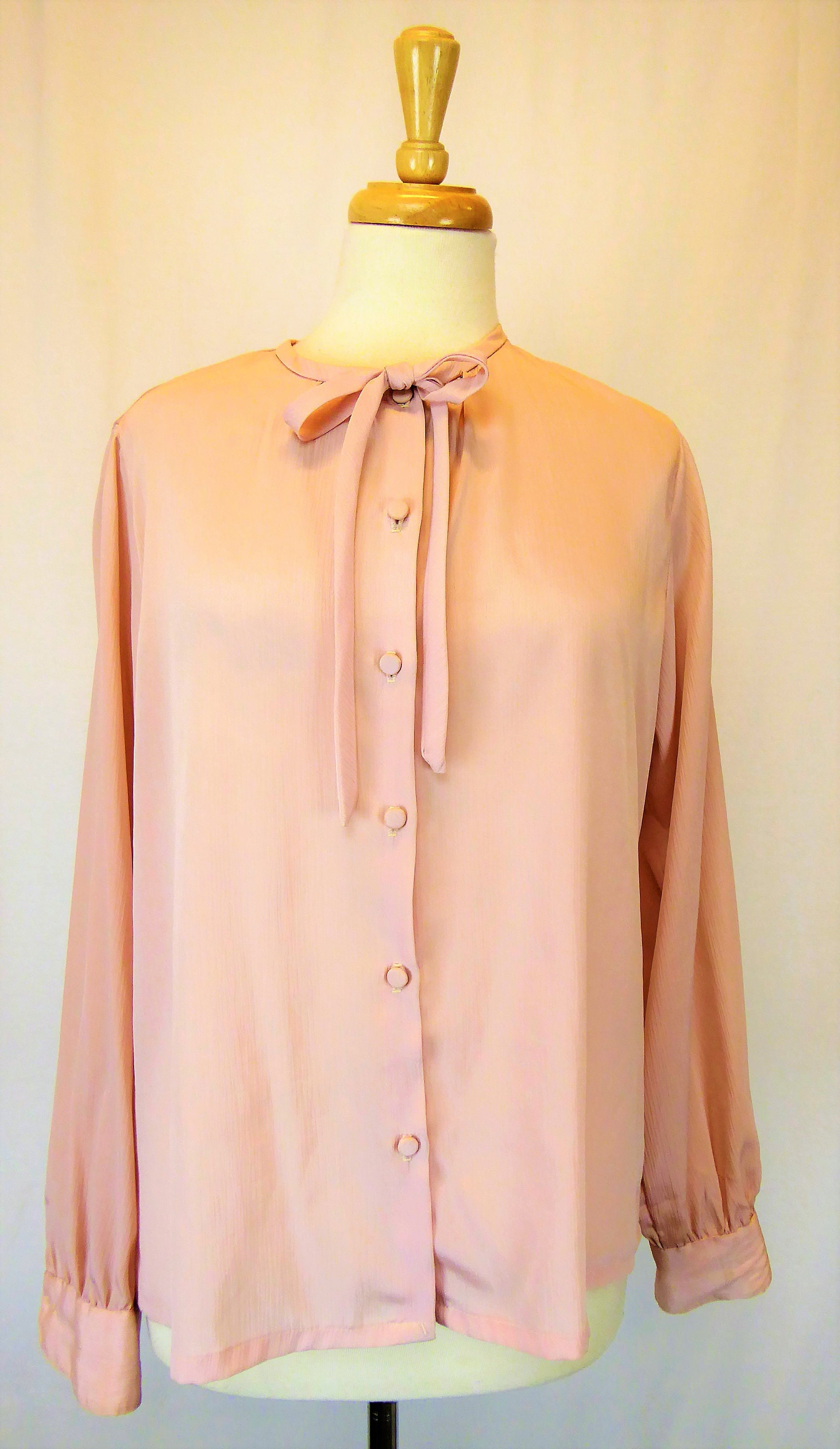 7081fdb1ac4 Helen Fabrikant New York Vintage Sheer Pink Chiffon Blouse Women's Size 14,  Button Front Top w/ Bow