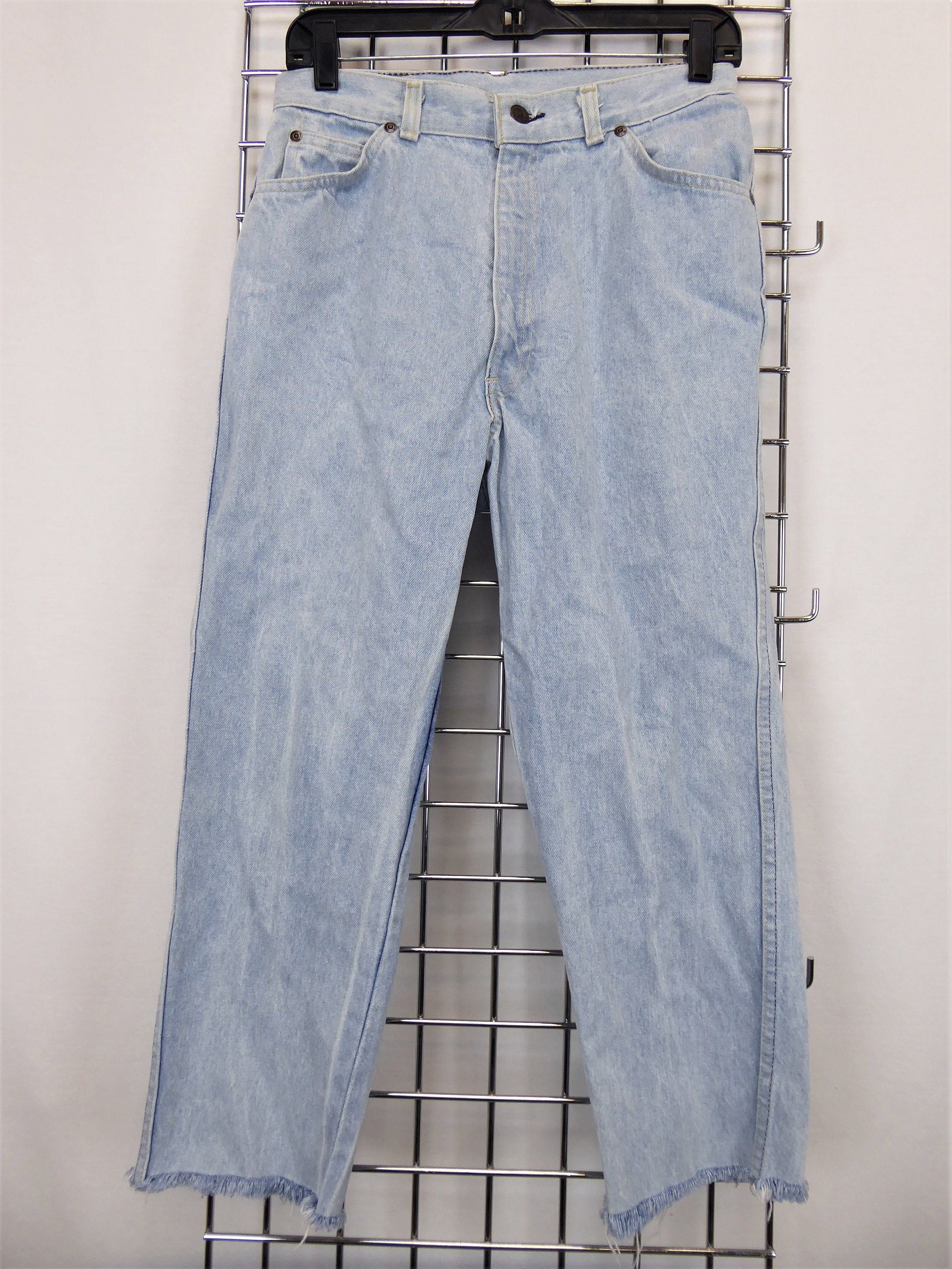 190c95d6 Levi's Cutoff Jeans, Women's 28 Waist, Vintage 80s/90s Levi's White Tab,  Frayed Cropped Jeans, 90s High Waist Jeans