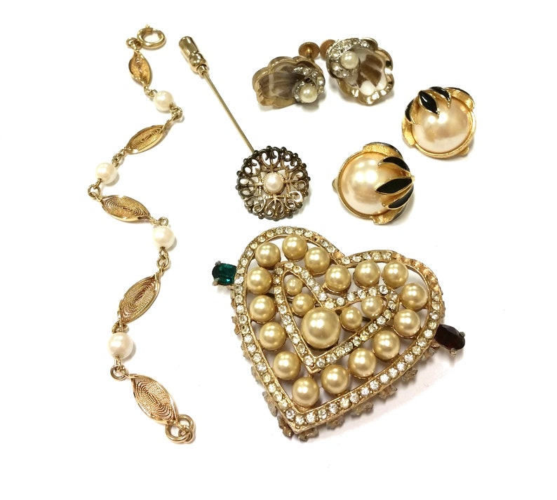 Gold Filled Bracelet Wear Repair Repurpose Costume Jewelry Collection Heart Brooch Wiesner Sterling Stick Pin Retro Pearl Jewelry Lot