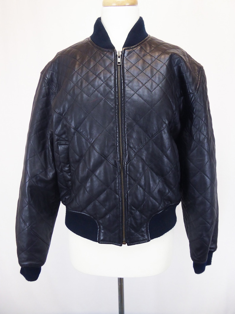 f31737eb0 Guess Leather Jacket, Leather Bomber Jacket, Quilted Black Leather, Women's  Medium, 90s Guess, Zip Up, Vintage 1990s Coat, Georges Marciano