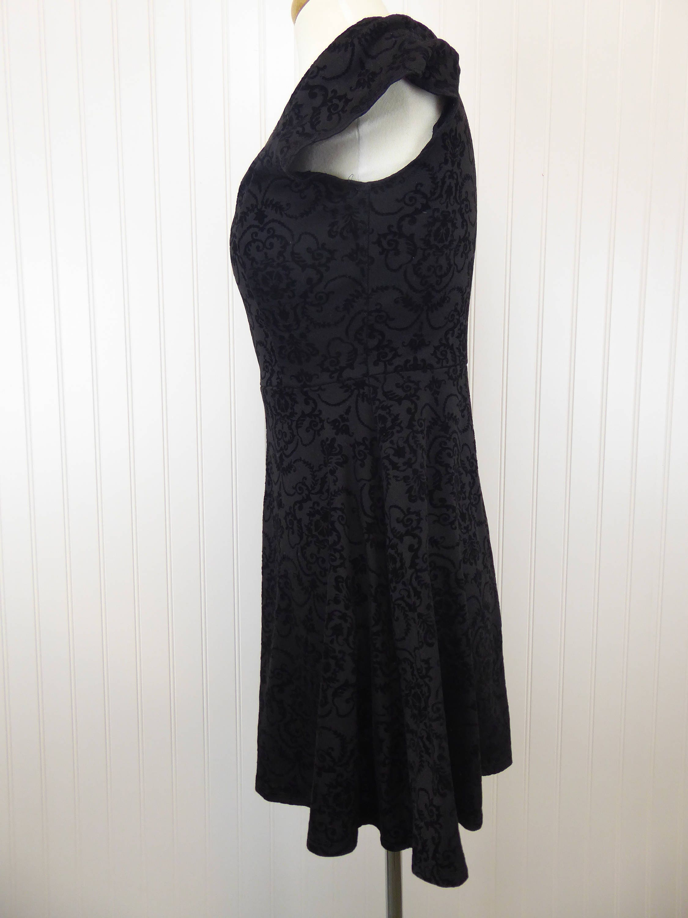 90s Black Burnout Velvet Filigree Pattern Vintage Dress