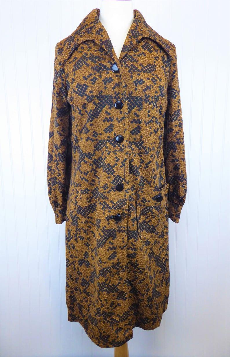 152a56378331 70s Snake Print Dress Women s Size Large Vintage Retro