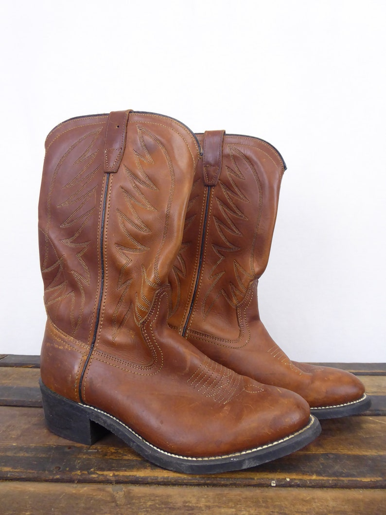 320e74ca943 Wolverine Western Boots, Size 7, Brown Cowboy Boots, Western Work Boots,  Brown Leather Boots, Vintage Work Boots