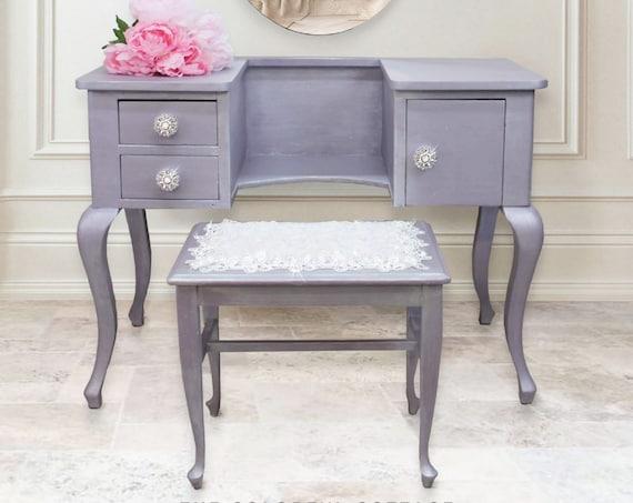 Lavender Vanity Table Bench Mirror, Antique Dressing Table, Makeup Desk & Mirror, Vintage Powder Room Furniture, Bedroom Vanity