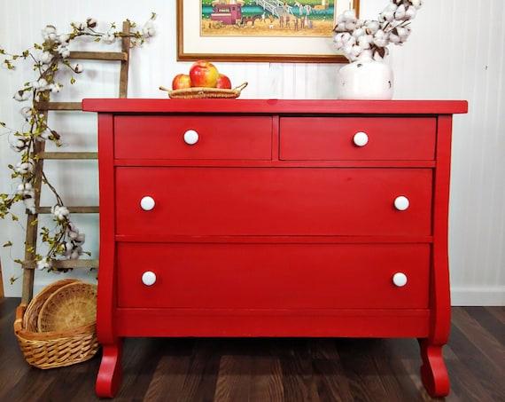 Red Antique Empire Dresser, Antique Sideboard Buffet, Upcycled Renewed Dresser, Americana Style Dresser, Patriotic Furniture