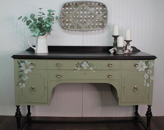 Antique Painted Sideboard, Sage Green Buffet, Artistic Style Sideboard