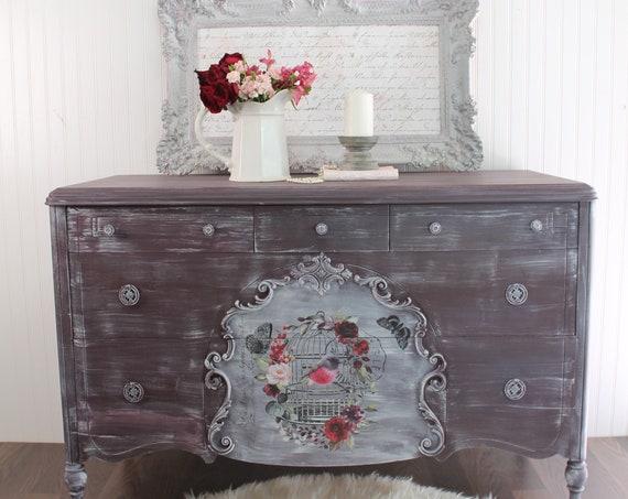 Antique Upcycled Unique Dresser, Plum Dresser, Dresser with Birds