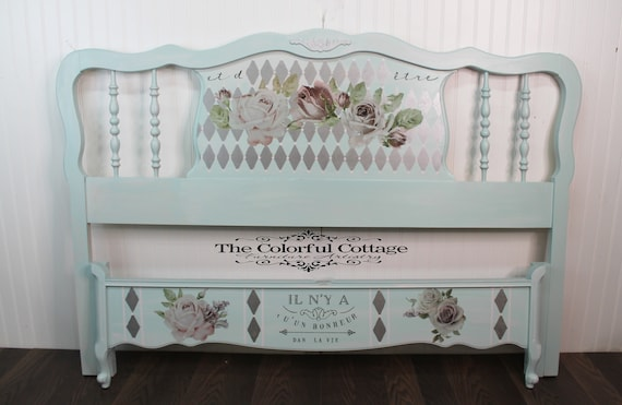 Blue French Provincial Full Size bed, French Script Bed, Blue Painted Bed,