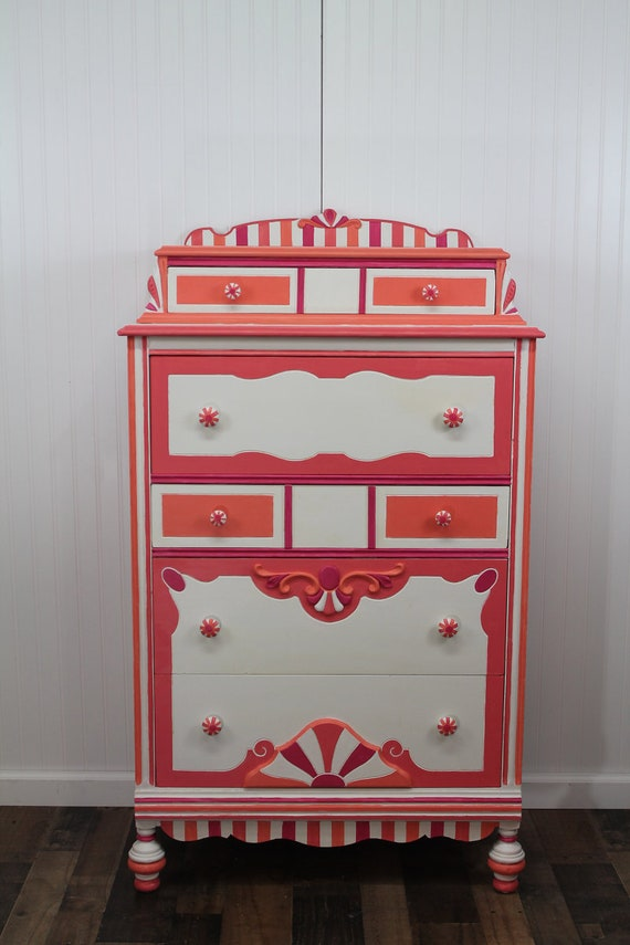 Coral And Pink Chest Kids Dresser Highboy Chest Of Drawers Etsy