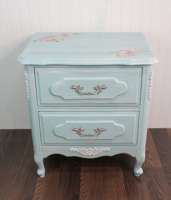 Blue French Provincial Night Stand, French Inspired Bedside Table, Blue Nightstand
