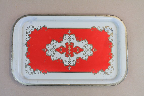 SET Vintage Metal Tray, Decorative Tray, Mid Century Decor, Personal Size Tray, Red and Gold Tray, Entertaining Tray, Original Metal Trays