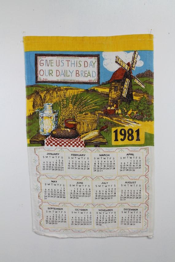 1981 Vintage Calendar Towel, 80s Kitchen Calendar, 80s Linen Calendar, Windmill Calendar, Kitschy Home Decor,
