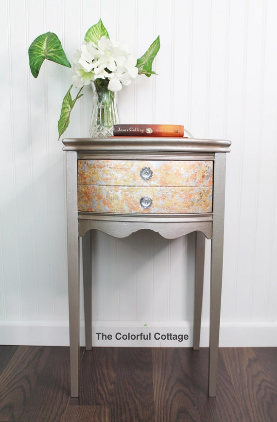 Metallic Accent Table, Small Side Table, Bedside Table, Table With Bling