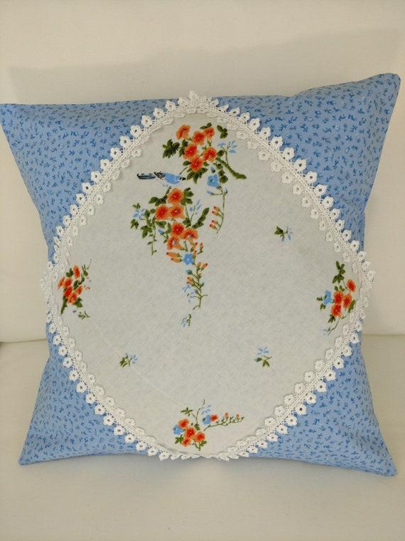 Vintage Handkerchief Pillow Cover