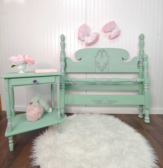 Twin Bed and Bedside Table Set, Twin Bed frame, Nightstand, Girl's Bed and Table, Pastel Green and Orchid Bed, Painted Bed, Furniture Art