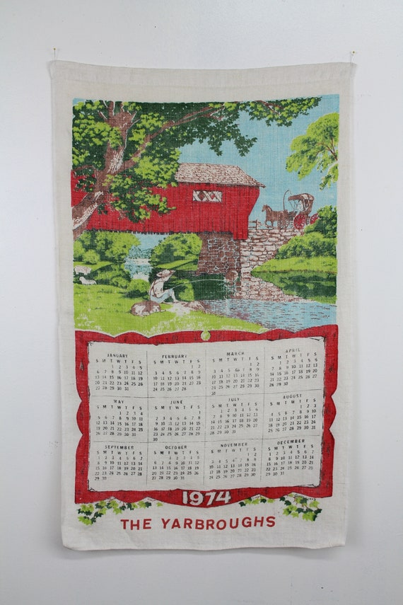 1974 Calendar Towel, Linen Calendar, Vintage Calendar, Vintage Wall Decor, Kitchen Calendar, 70s Memorabilia, 70s Kitchen decor