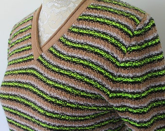 Vintage 1990s grunge Vneck Chartreuse and Tan Striped Sweater (S-M)