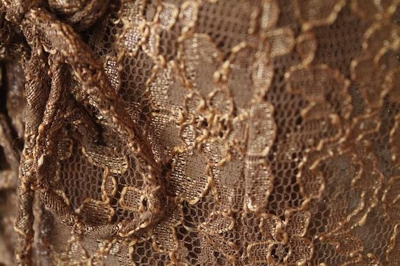 Vintage 1980s Sheer Coffee Lace Corset Waist Long… - image 3