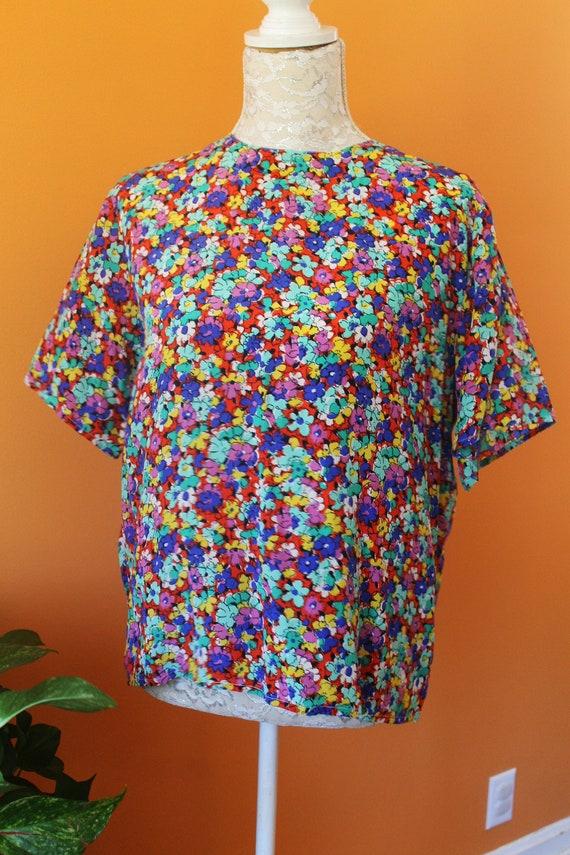 Vintage 1980s Gorgeous Floral Silk Top (M-L)
